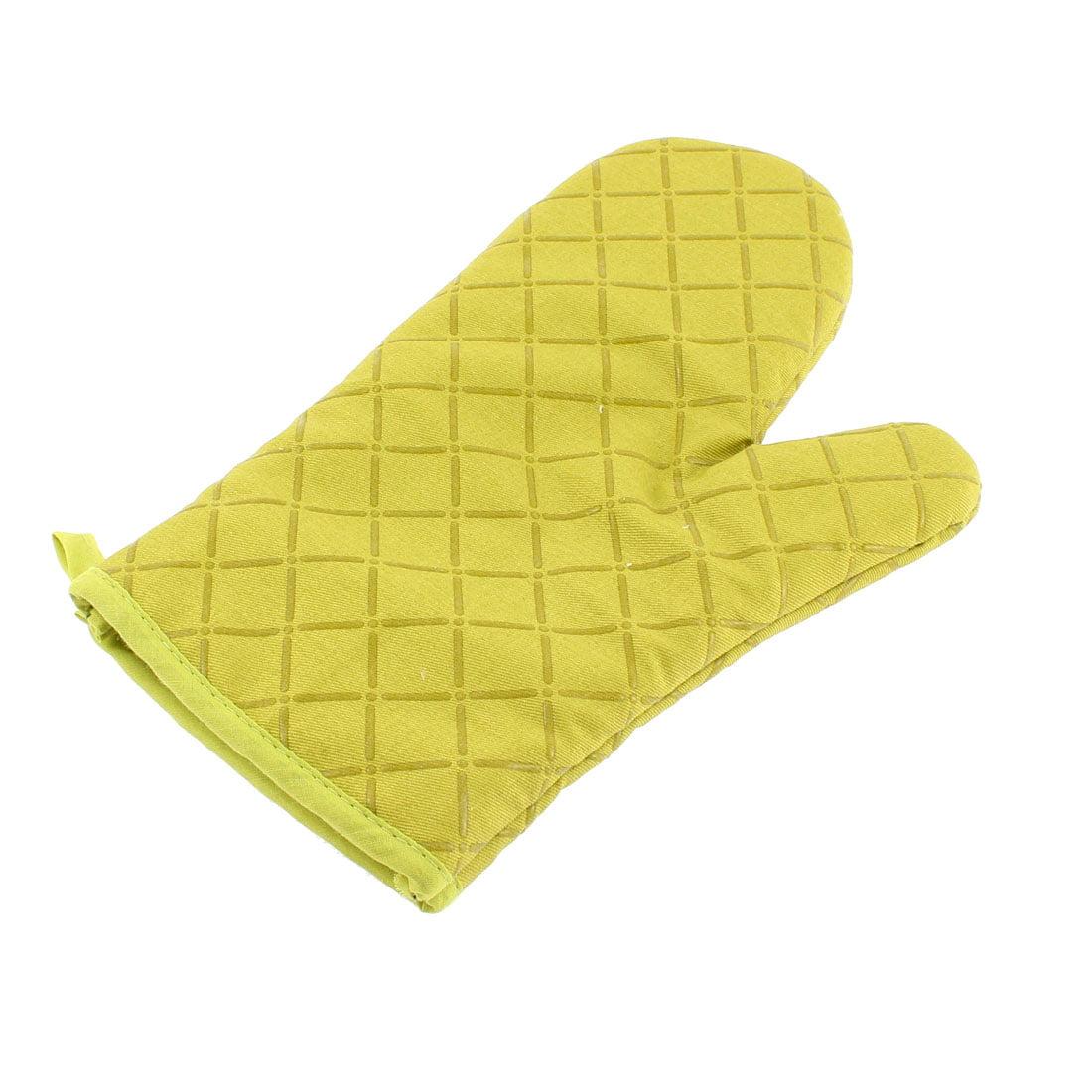 Kitchen Microwave Baking Cross Pattern Heat Resistance Mitten Glove Green - image 3 of 3