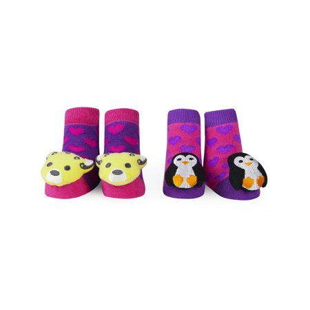 Waddle and Friends Baby Shower Gift Idea: Newborn Baby Girls Booties with  Rattle Toe Animal Plush Penguin and Cheetah Slipper Socks 0-12 Months 2 Pack (2 Pairs) Purple and Pink Baby Socks