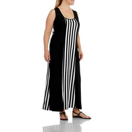 ad15c25529 Just Love - Women's Plus-Size Fashion Striped Maxi Dress - Walmart.com