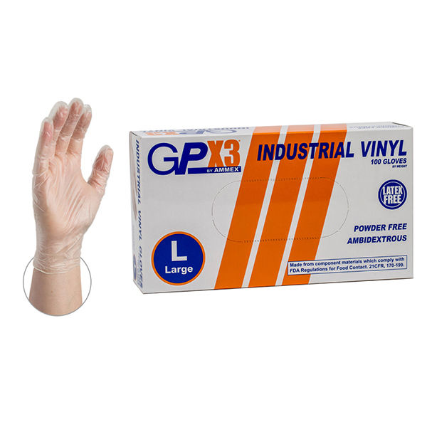 1000 GPX3 Powder Free Vinyl Industrial Grade Gloves Size Medium  100 per Box