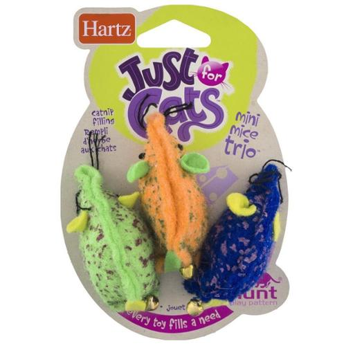 Hartz Just For Cats Mini Mice Trio Toy 3 ea (Pack of 3)
