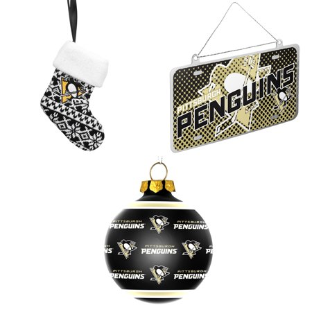 NHL Pittsburgh Penguins ORNAMENT STOCKING KNIT Metal License Plate Christmas  Ornament Repeat Glass Ball Bundle 3 - NHL Pittsburgh Penguins ORNAMENT STOCKING KNIT Metal License Plate