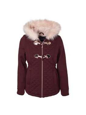 Limited Too Quilted structured fleece toggle jacket with fur trim hood (big girls)