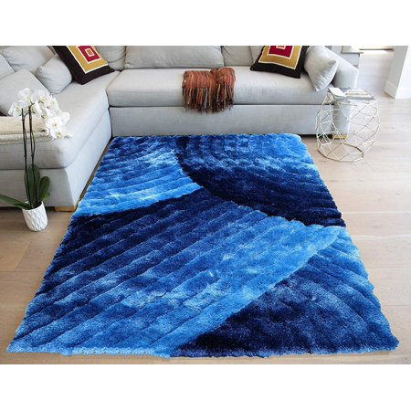 Electro Blue Navy Blue Dark Blue Deep Blue Midnight Blue Neutral Modern Contemporary Fluffy Fuzzy Furry Flokati Soft Thick Plush Medium Pile 8x10 Large Living Room Striped Patterned Accent ()