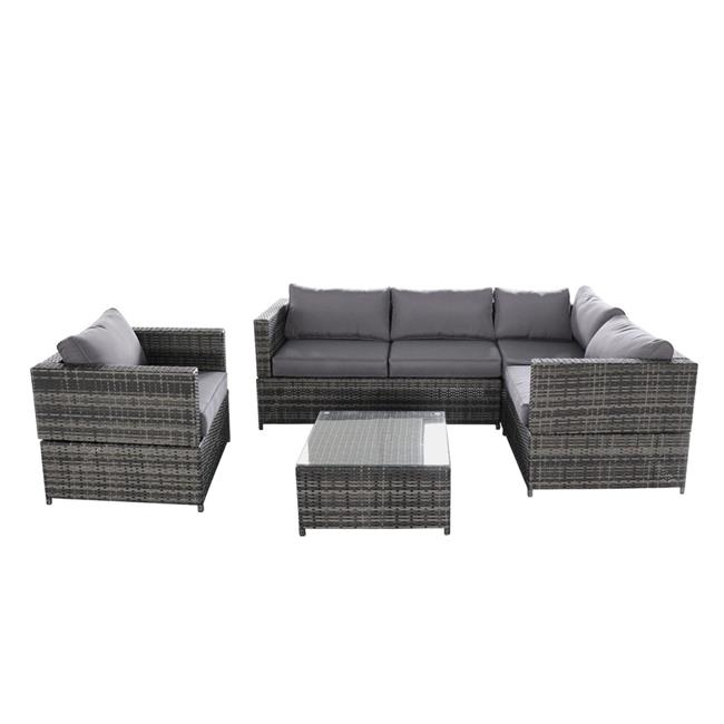 Magari Outdoor Furniture SJ-15125 Complete 4 pieces PE Wicker Rattan Patio Set with Gray Cushions