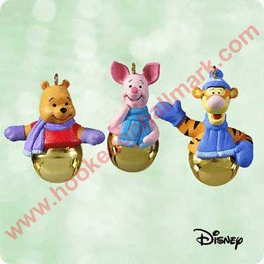 Hallmark Ornament 2003 Ring a ling Pals - Winnie the Pooh MINIATURE set of 3 - Hallmark Halloween Merry Miniatures
