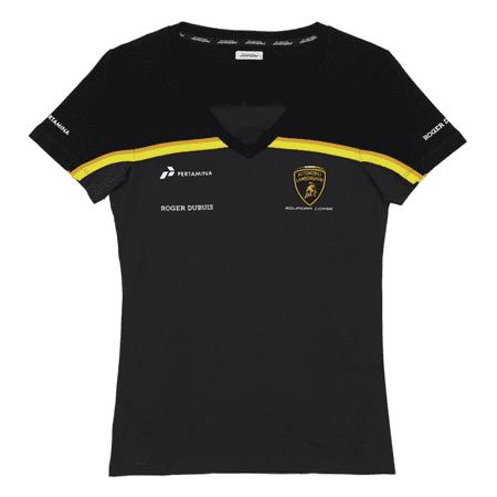 Automobili Lamborghini Gold 2019 Women's Black V-Neck T-Shirt (M) (Lamborghini Shirt)