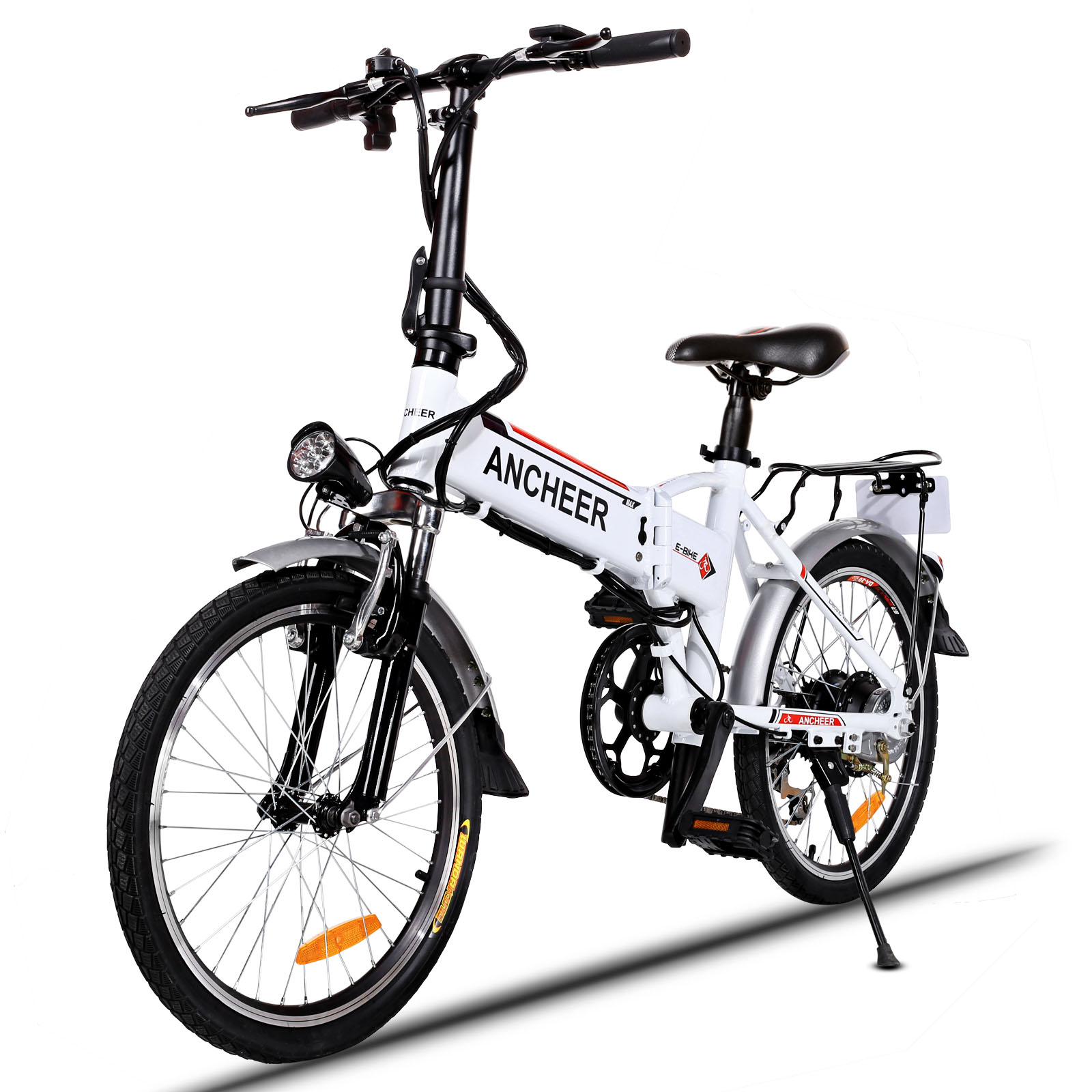 Ancheer 18.7'' Foldable Adjustable Electric Mountain Bike Power Bicycle with Detachable Lithium Battery by