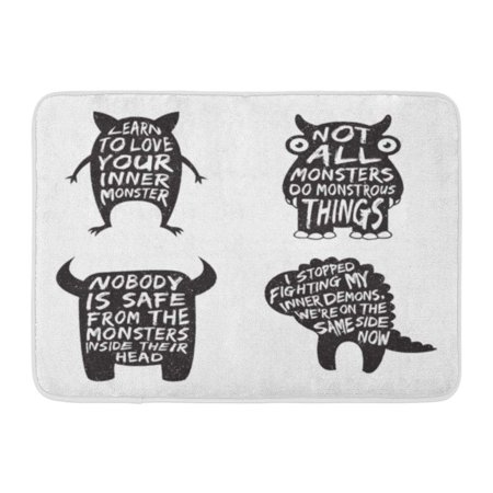 GODPOK Silhouette Funny of Monster and Quotes Artworks for Wear Inspirational Halloween Saying Rug Doormat Bath Mat 23.6x15.7 - Funny Halloween Quotes Sayings