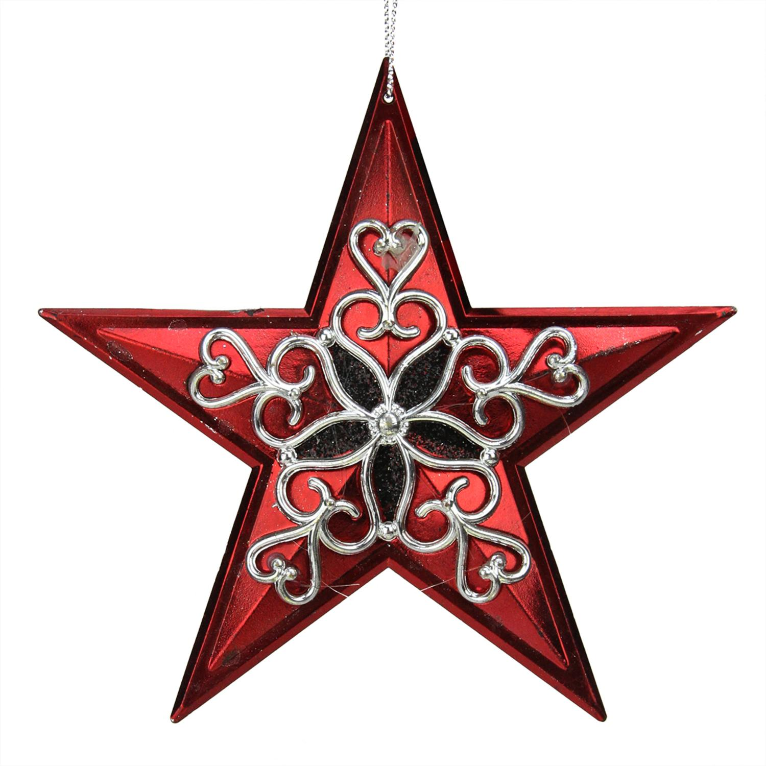 "5"" Red and Silver Star with Black Filligree Star Christmas Ornament"