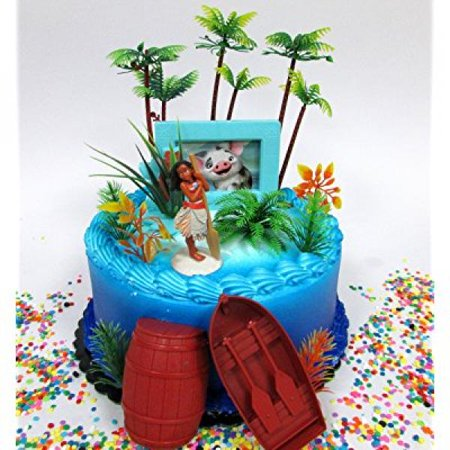MOANA Tropical Themed Moana Birthday Cake Topper Set Featuring Figure And Decorative Accessories