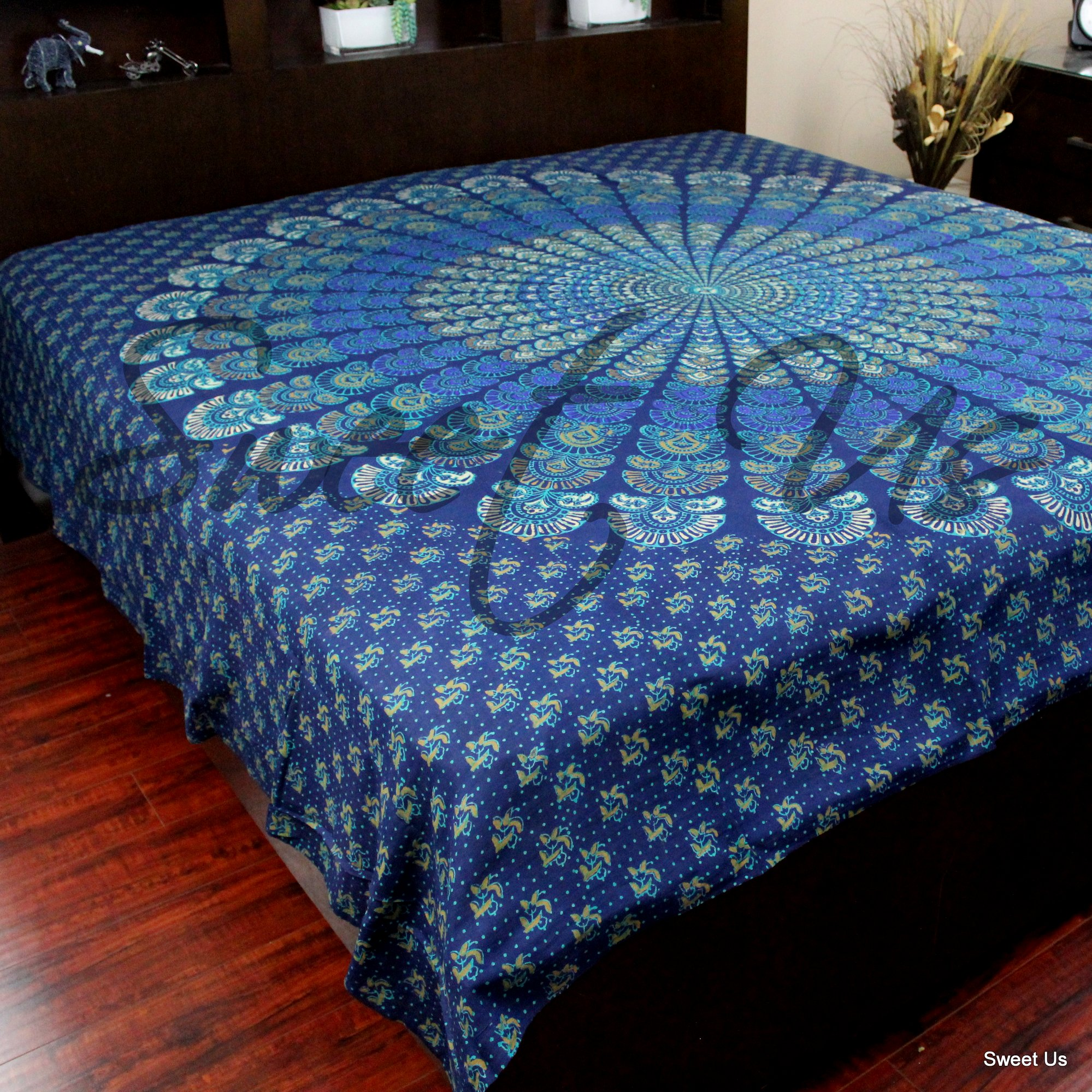 Cotton Mandala Floral Bed Sheet Queen King Tapestry Wall Hang Blue Gold Walmart Com Walmart Com