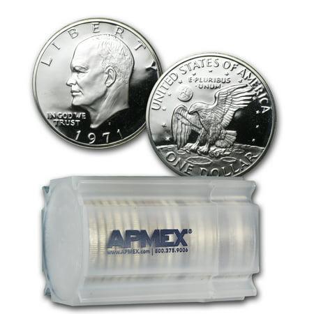 1972 Eisenhower Dollar Coin - 1971-S 40% Silver Eisenhower Dollars 20-Coin Roll Proof