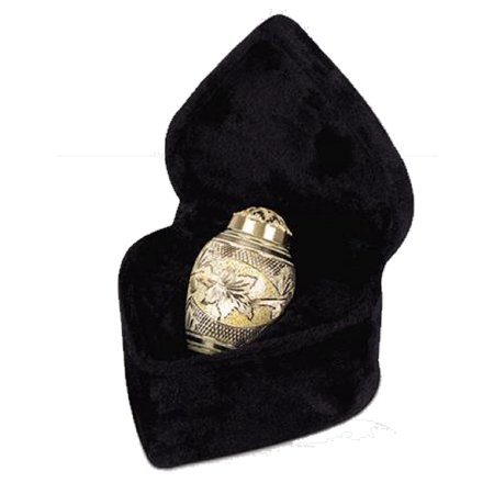 Cream Urn - UrnConcern Cremation Urn   Solid Brass   Hand Engraved   A Memorial Product That Is A Great Value And A Beautiful Cremation Urn   Cream Over Engraved Brass   Keepsake Includes Velvet Box