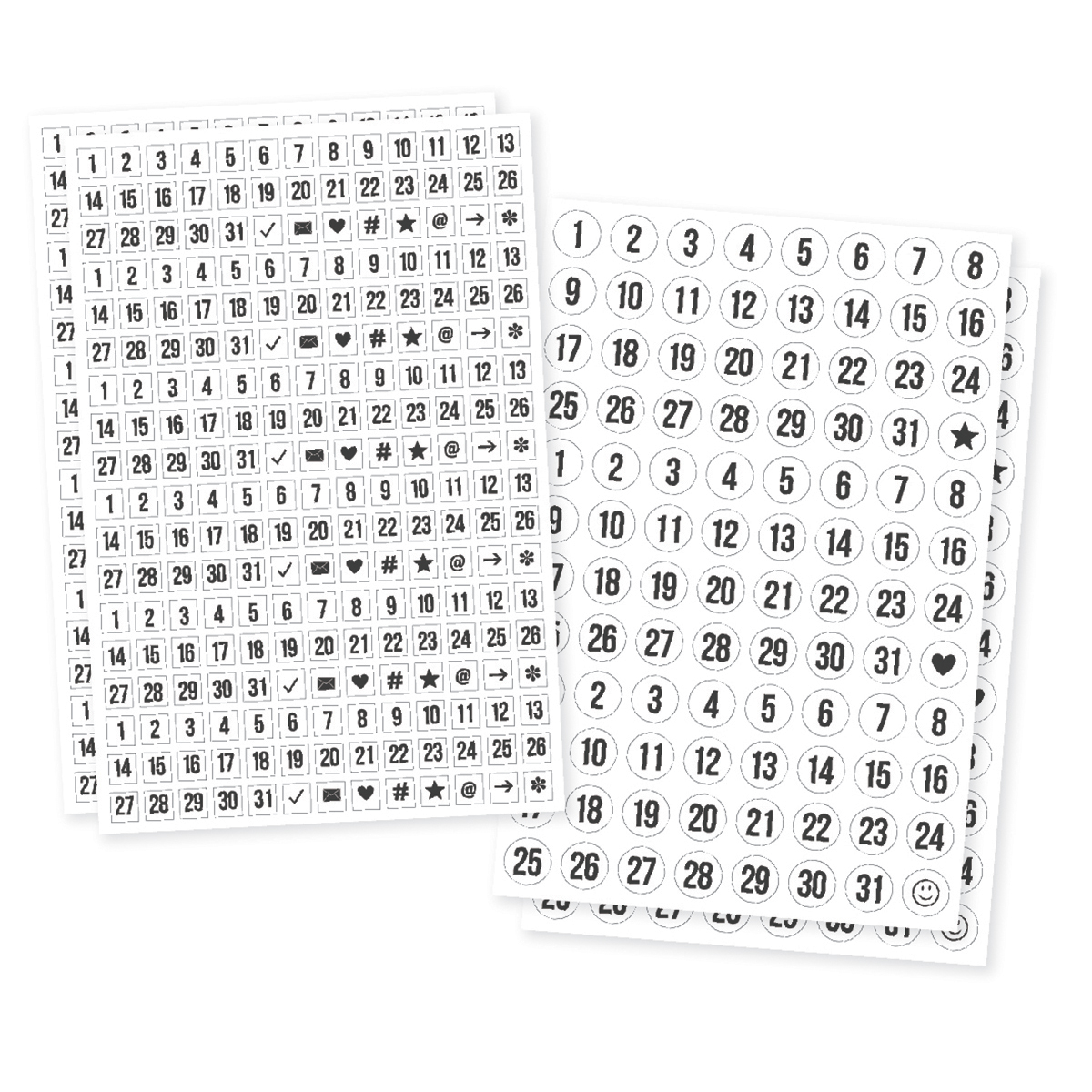 "Planner Essentials Clear Stickers 4"" x 6"" 4/Pkg - Numbers, 2 Designs/2ea"