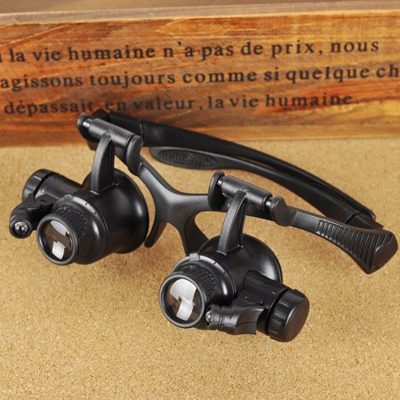 10X 15X 20X 25X LED Glasses Jeweler Magnifier with Light Watch Repair Magnifying Loupe