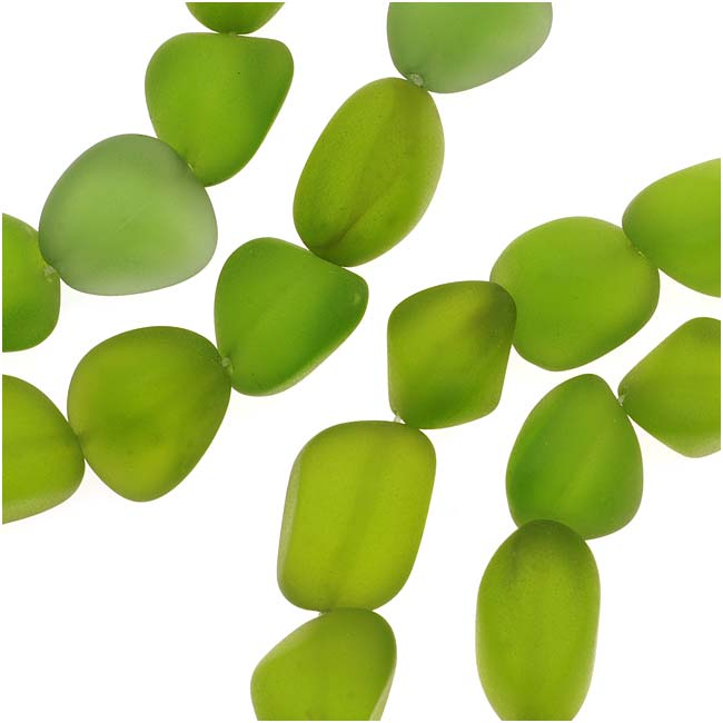 Cultured Sea Glass, Small Nugget Beads 8-16mm, 7 Pieces, Olive Green
