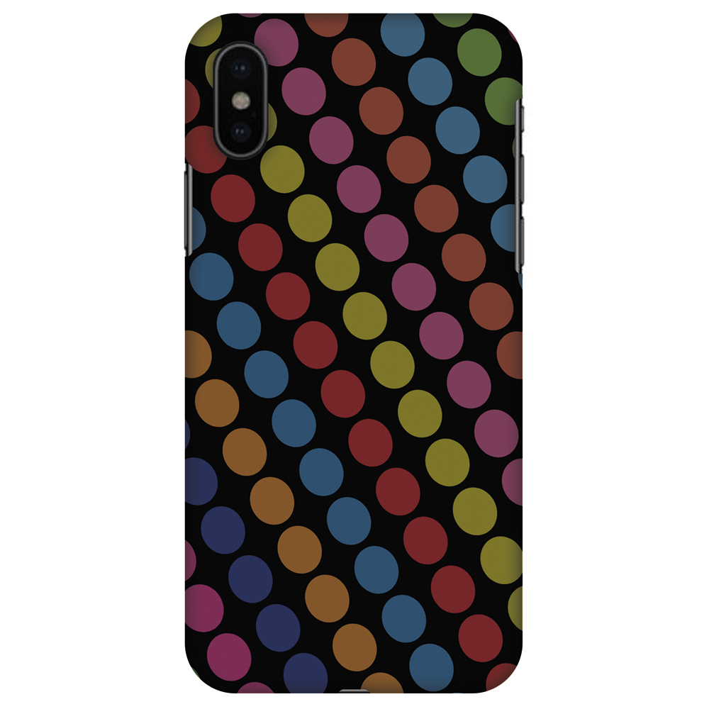 iPhone X Case - Funky Dot Stripes, Hard Plastic Back Cover. Slim Profile Cute Printed Designer Snap on Case with Screen Cleaning Kit