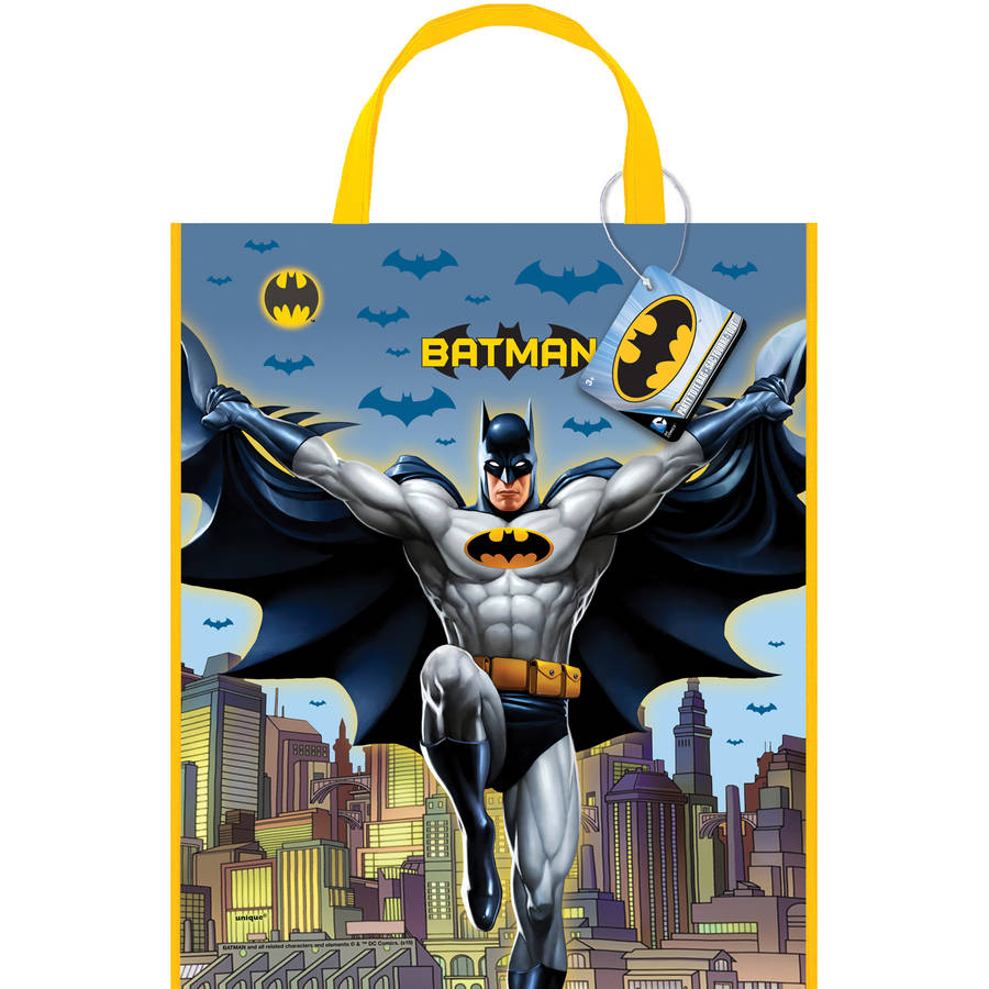 Large Plastic Batman Goodie Bag, 13 x 11 in, 1ct