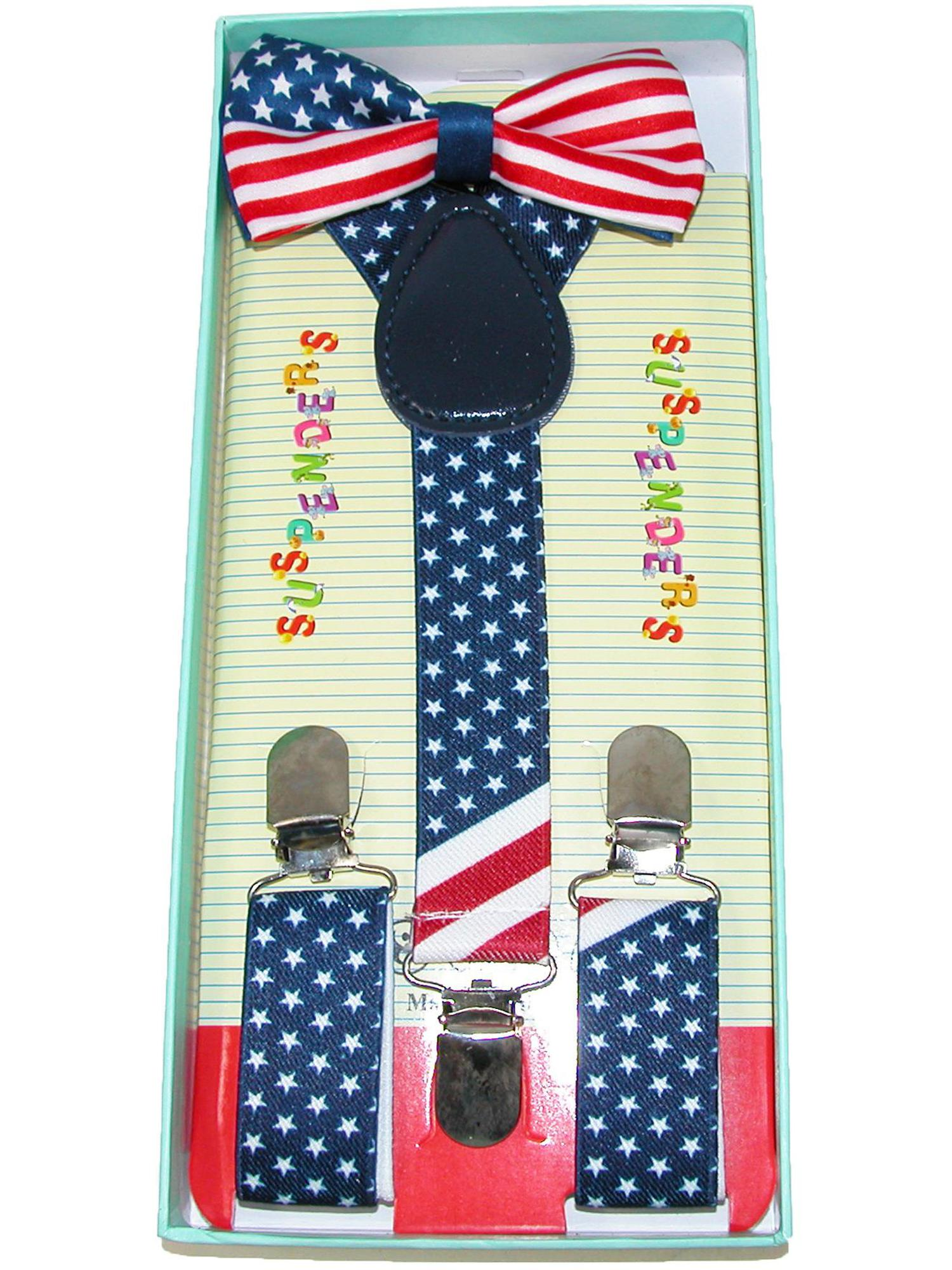 Size one size Infant's or Kid's American Flag Bow Tie and Suspender Set