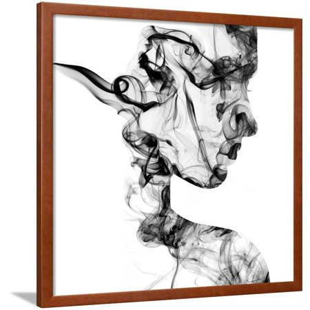 Double Exposure Portrait of Young Woman and Cigarette Smoke. Framed Print Wall Art By Vladimir Sazonov