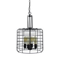 Design House 587337 Ajax Industrial Modern 4-Light Indoor Chandelier (Edison Bulbs Included) Metal Wire Cage for Entryway Dining Room Foyer, Coffee Bronze