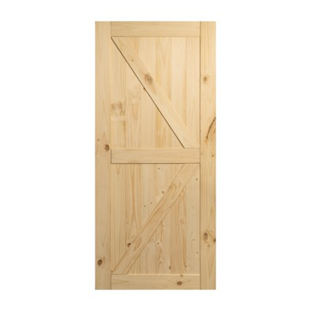 BELLEZE 36in x 84in Sliding Barn Wood Door Unfinished Knotty Pine Single Door Only Pre Drilled (3 ft X 7 ft) Interior, N