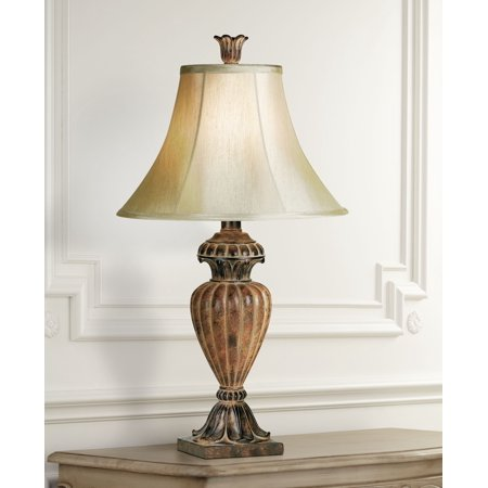 Regency Hill Traditional Table Lamp Urn Two Tone Bronze Off White Bell Shade for Living Room Family Bedroom Bedside Nightstand