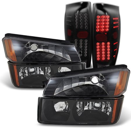 Fits 2002-2006 Chevy Avalanche Headlights & Bumper Lights +Smoked LED Tail Lamps