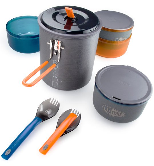 Click here to buy GSI Outdoors Halulite Microdualist Two-Person Cookset by GSI Outdoors.