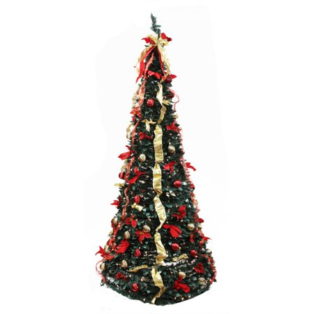 Northlight 6 ft. Pre Lit Decorated Pop Up Christmas Tree with Red Poinsettia