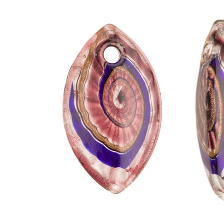 - Wavy Swirl Design Purple Base Marquise Lampwork Glass Pendant 35x60mm Handmade Murano Inner Flower And Lampwork Glass Pendant (3pcs Bundle), SAVE $2