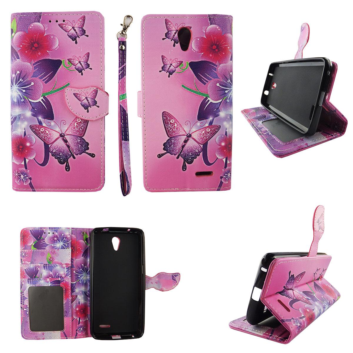 Butterfly Flower Pink Wallet Folio Case for ZTE Prestige Z9132 Avid Plus Z828 Fashion Flip PU Leather Cover Card Cash Slots & Stand