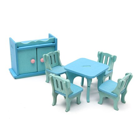 - 6Pcs Blue Wooden Miniature Dining Room Table Set For Dolls Dollhouse Furniture