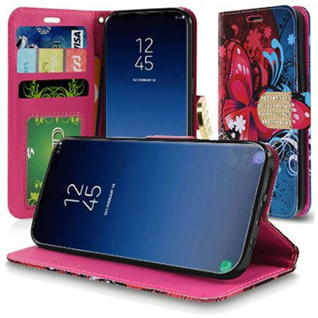 HR Wireless Butterfly Bliss Flip Leather Fabric Cover Case w/stand/card holder For Samsung Galaxy