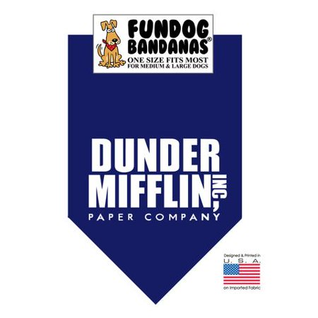 Fun Dog Bandana - Dunder Mifflin- One Size Fits Most for Med to Lg Dogs, navy blue pet - Halloween Dog Bandanas Uk