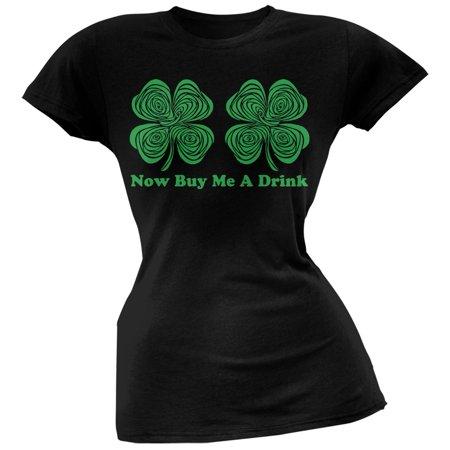 St. Patricks Day - Hypnotic Shamrocks Buy Me a Drink Black Juniors T-Shirt