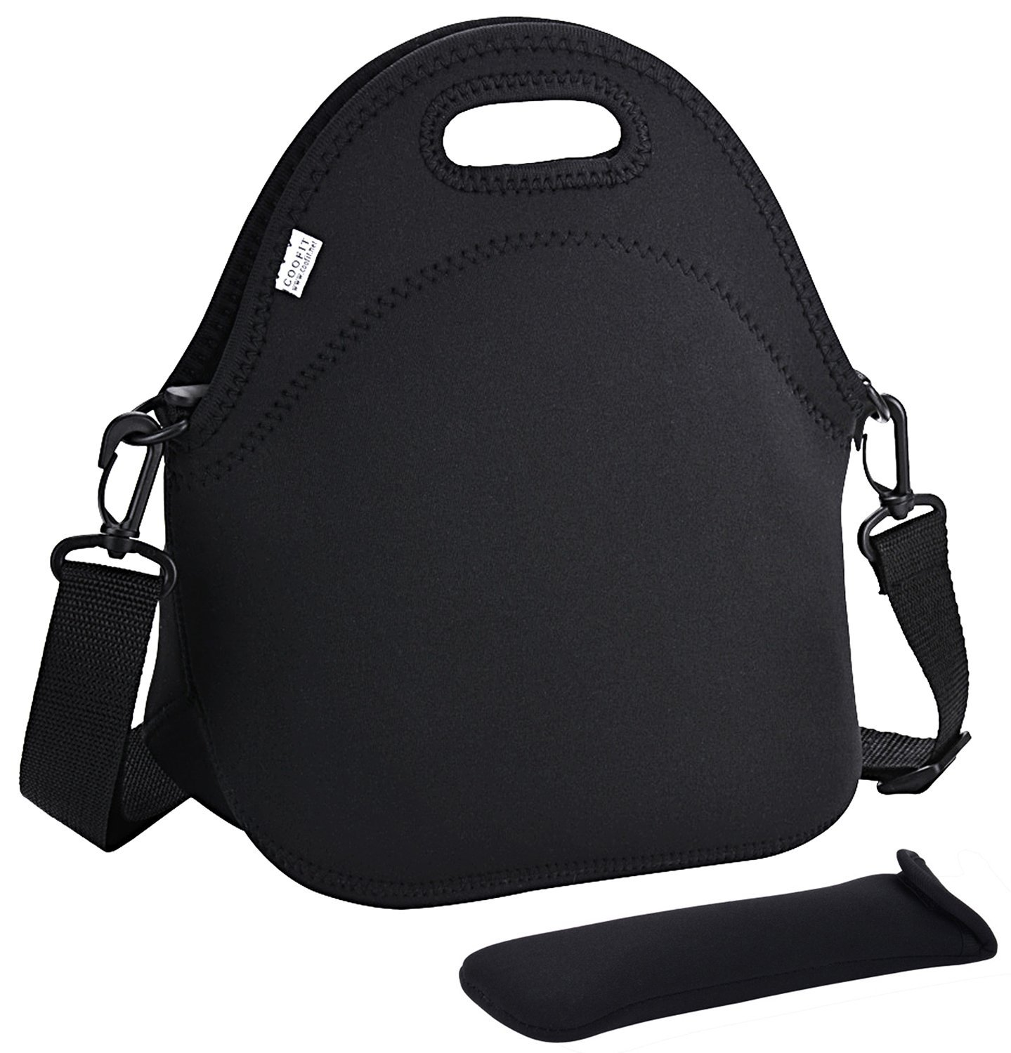 Coofit Neoprene Lunch Bag with Strap & Tableware Pocket Waterproof Insulated Lunch Bag Tote for Kids, Women