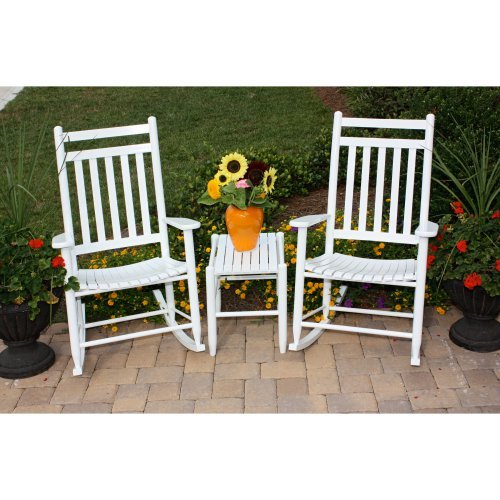 Dixie Seating 3 pc. Slat Rocking Chair Set with Side Table - White
