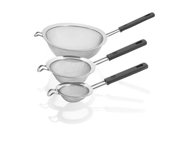 Polder Handheld 3 Piece Stainless Steel Mesh Strainer Set With Black Silicone Handles by