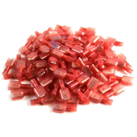100 pcs Red Male Disconnect Nylon 22-18 gauge AWG 1/4