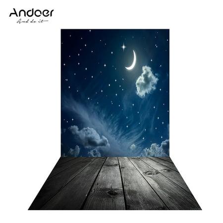 Andoer 1.5 * 0.9m/4.9 * 3.0ft Backdrop Photography Background Twinkle Moon Star Wood Floor Picture for DSLR Camera Children Wedding Photo Studio Video