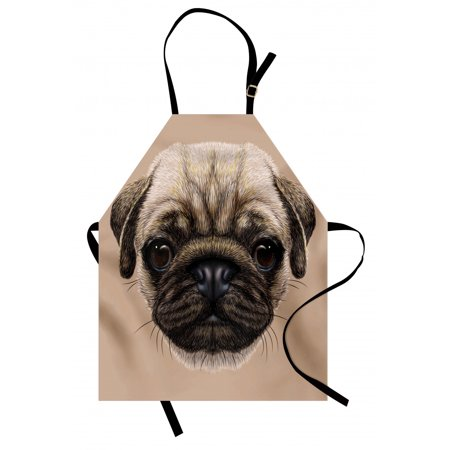 Pug Apron Detailed Portrait Drawing of a Dog Realistic Design of the Pet Animal Digital Art, Unisex Kitchen Bib Apron with Adjustable Neck for Cooking Baking Gardening, Tan Pale Brown, by Ambesonne ()