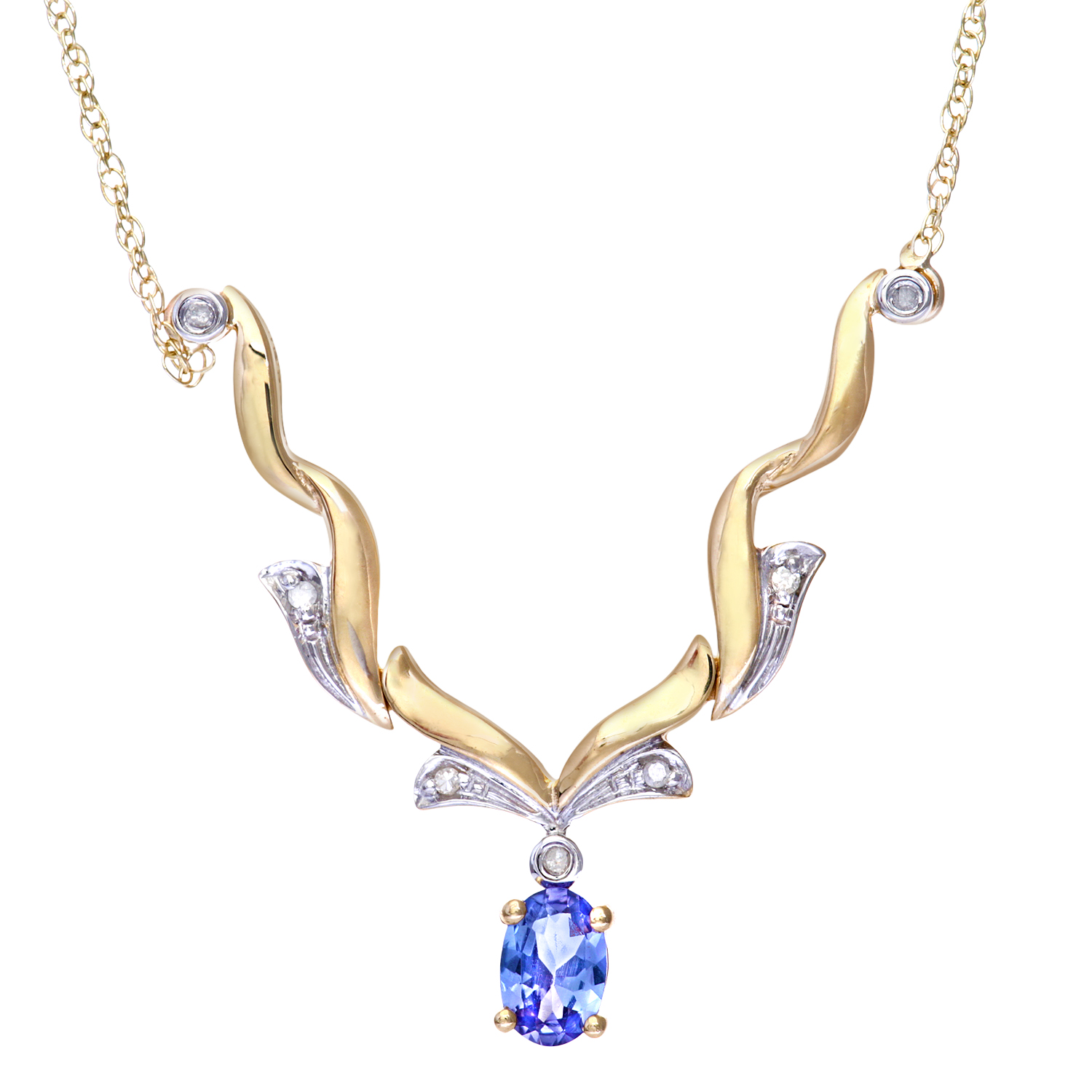 9ct Yellow Gold Tanzanite and Diamond Wave Necklace by Revoni