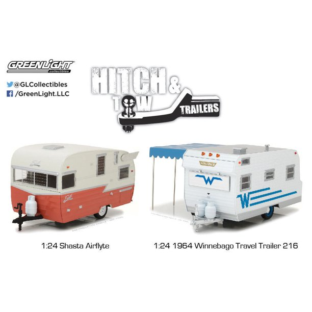 Greenlight 1 24 Hitch Tow Trailers 1964 Winnebago 216 Shasta Airflyte 2pcs Diecast Toy Car 18415 Walmart Com Walmart Com