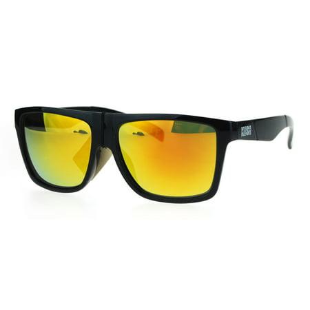 Orange Lens Sunglasses (Mens Kush Sport Black Plastic Horn Rim Mirror Lens Gangster Sunglasses)