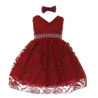 Baby Girls Burgundy Rose Lace Overlay Beaded Sleeveless Occasion Dress