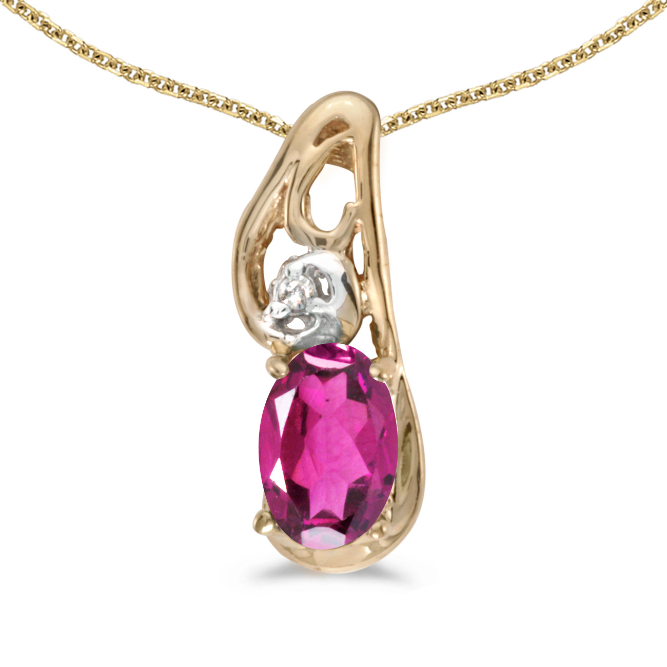 "10k Yellow Gold Oval Pink Topaz And Diamond Pendant with 16"" Chain by Yellow-Gold Pins"