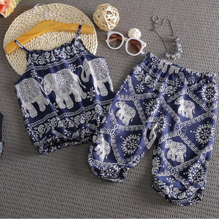 2Pcs Summer Kids Toddler Baby Girls Elephant Halter Tops Pants Clothes Outfits Set