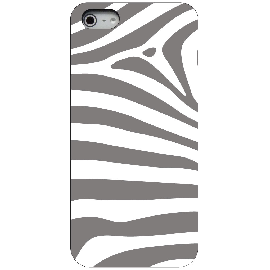 CUSTOM Black Hard Plastic Snap-On Case for Apple iPhone 5 / 5S / SE - Grey & White Zebra Skin Stripes